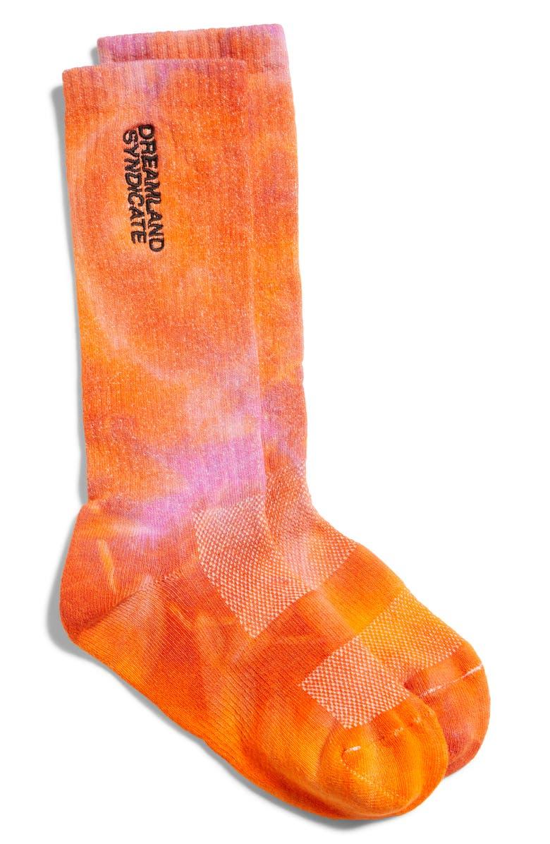 DREAMLAND SYNDICATE Embroidered Logo Tie Dye Socks, Main, color, ORANGE TIE DYE
