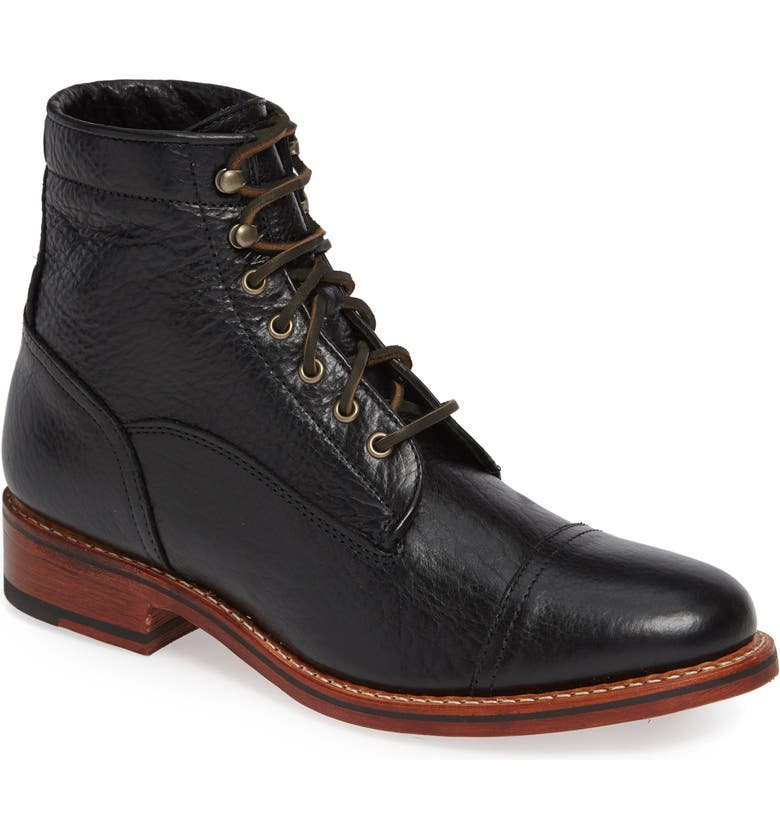 TWO24 by Ariat Highlands Cap Toe Boot, Main, color, BLACK BISON LEATHER