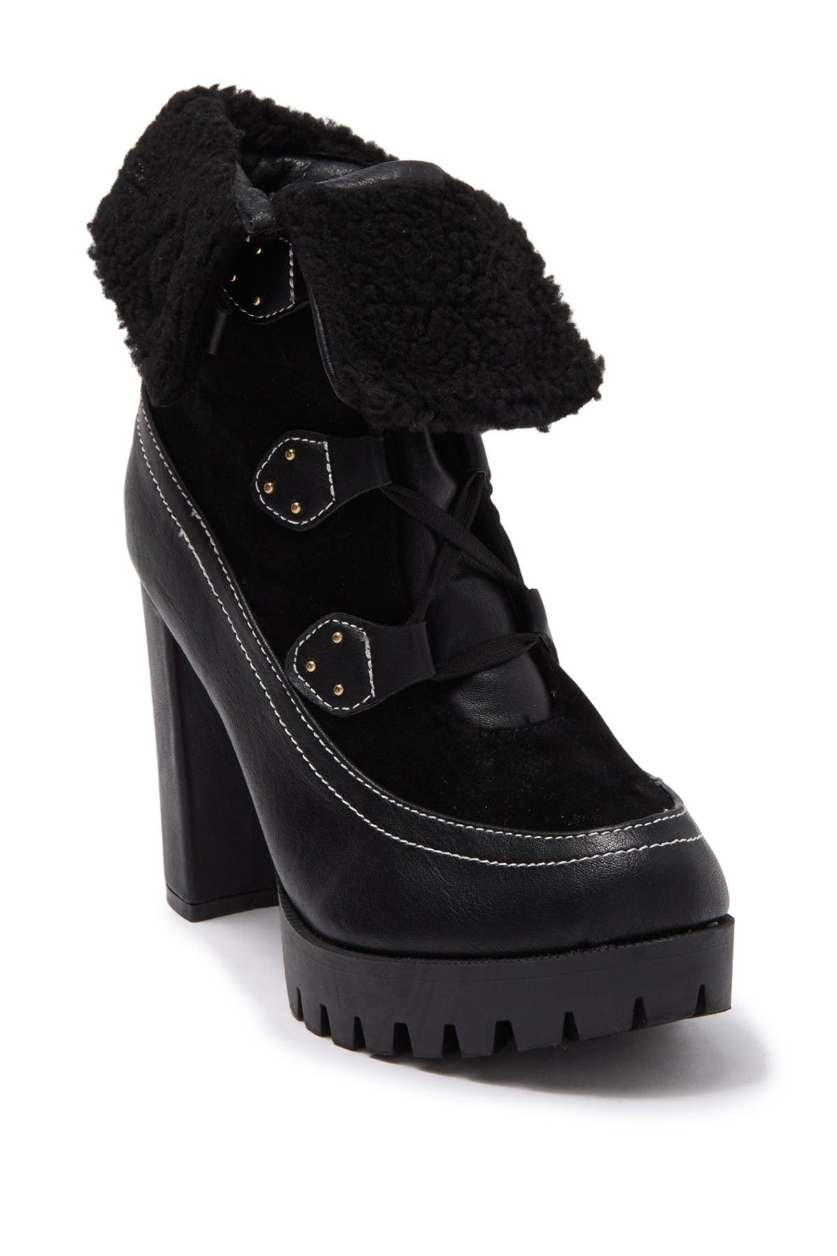 Image of Chase & Chloe Faux Shearling Lug Sole Boot