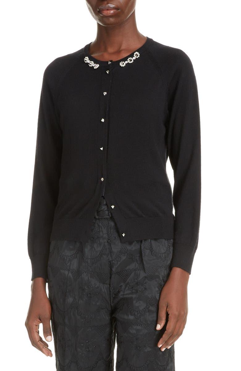 SIMONE ROCHA Embellished Wool & Silk Cardigan, Main, color, BLACK/ PEARL/ CLEAR