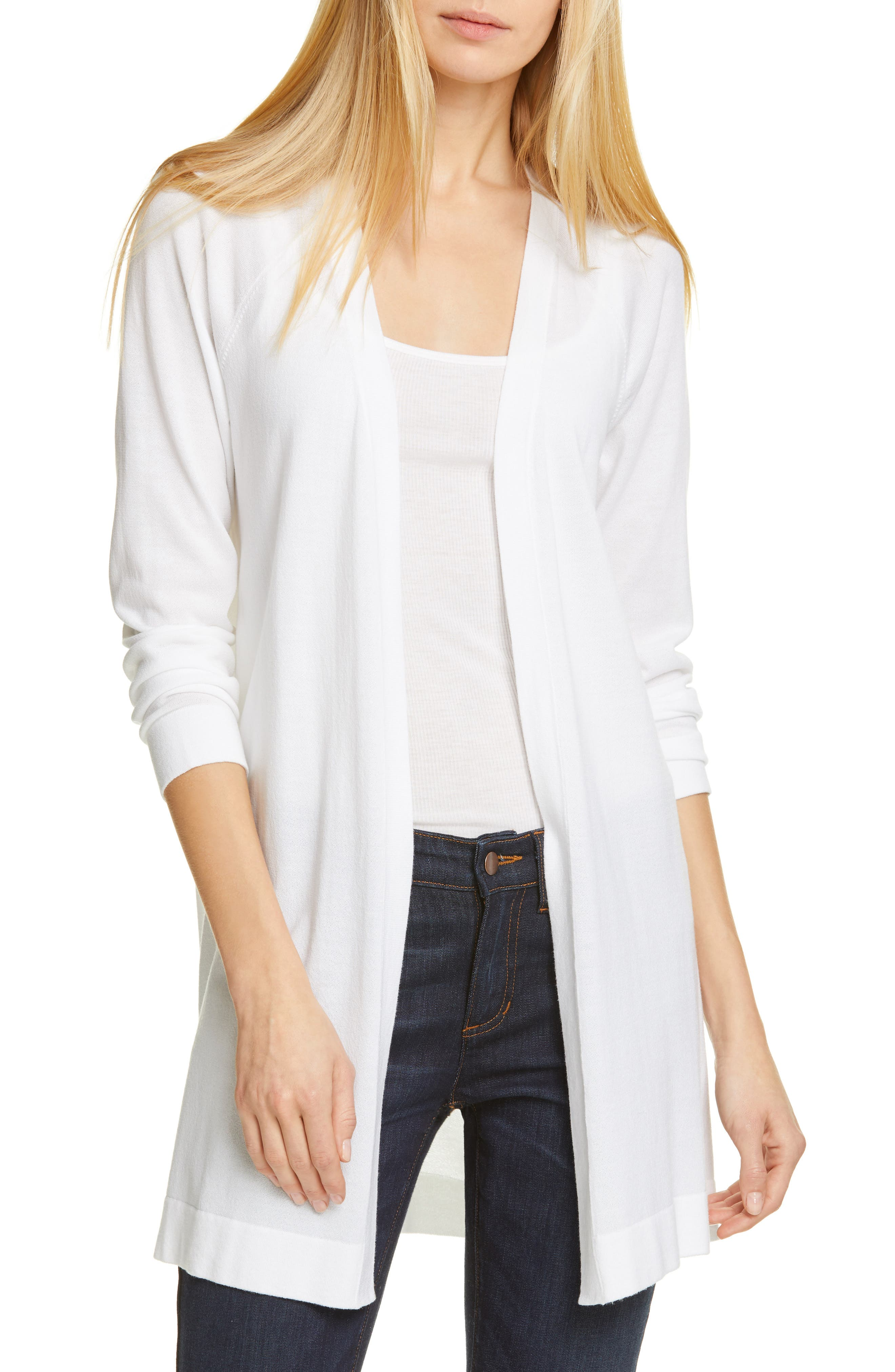 women's eileen fisher simple long cardigan, size medium - white