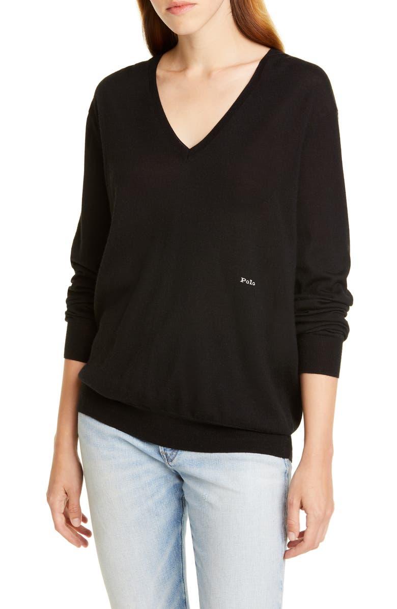 POLO RALPH LAUREN V-Neck Wool, Silk & Cashmere Sweater, Main, color, BLACK