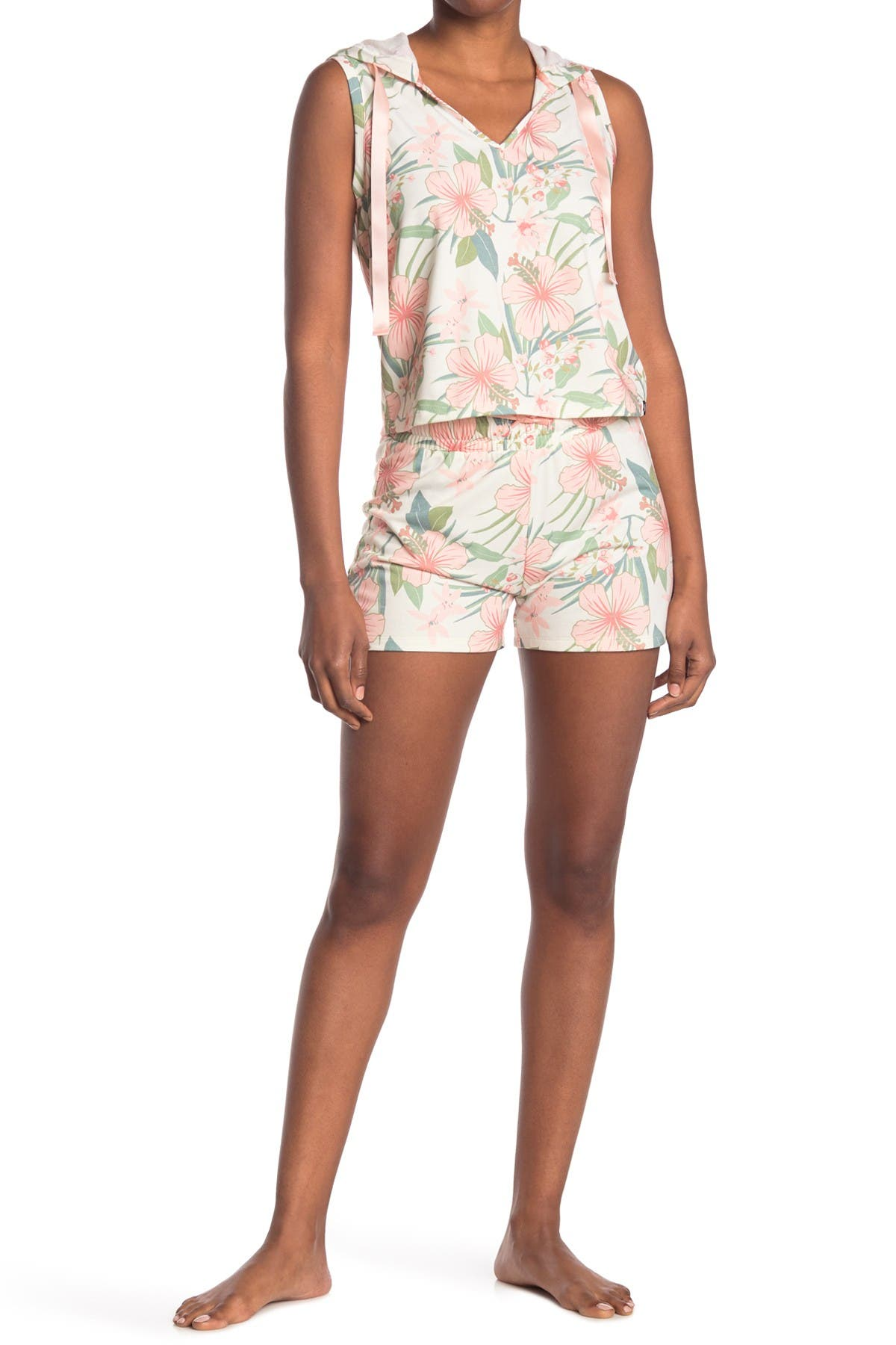Image of COZY ROZY Vacay Vibes Floral Sleeveless Hoodie & Shorts 2-Piece Pajama Set