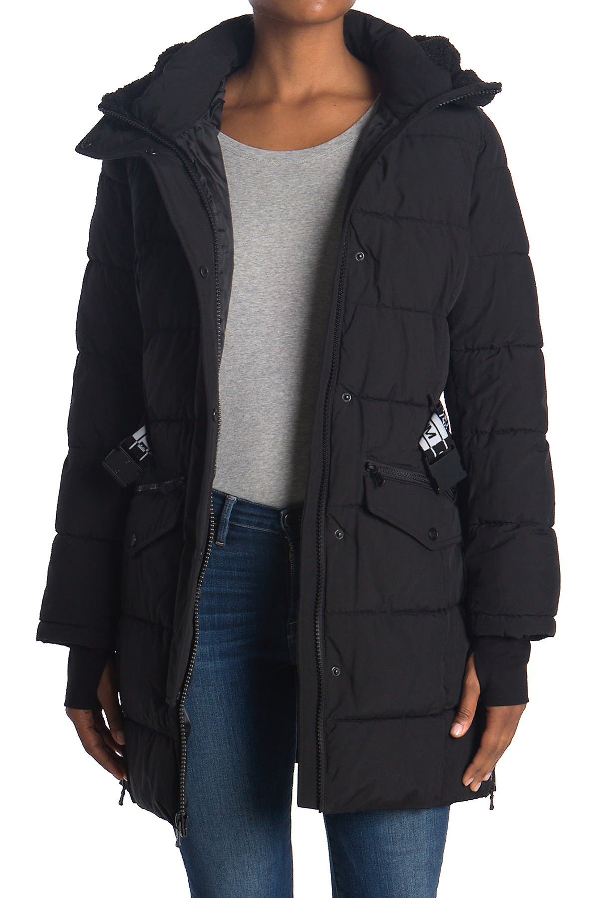 Image of Michael Kors Belted Parka With Shearling Hood