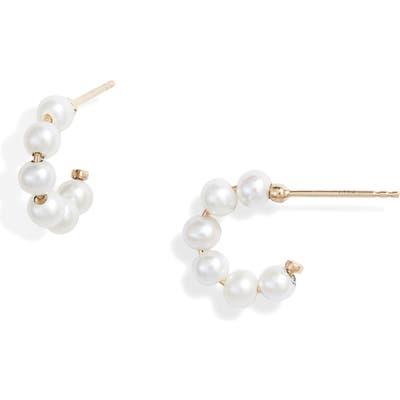 Poppy Finch Mini Baby Pearl Huggie Hoop Earrings