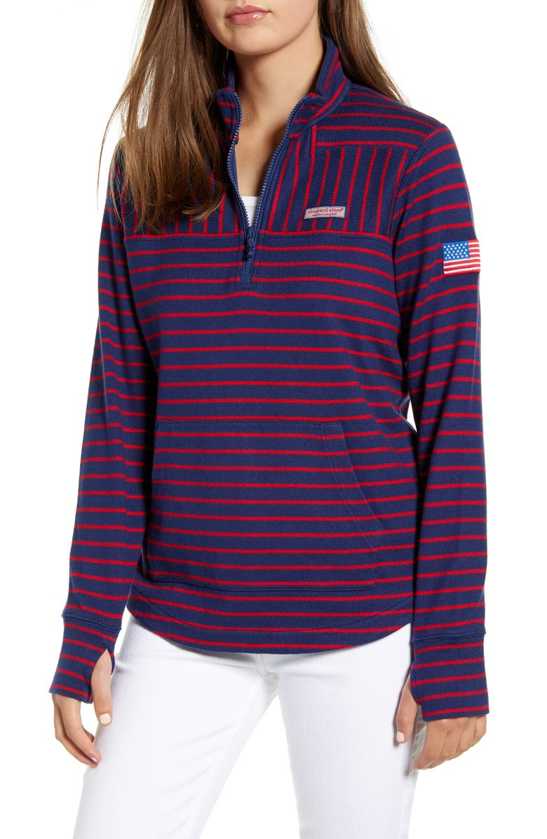 VINEYARD VINES USA Mix Stripe Pullover, Main, color, DEEP BAY