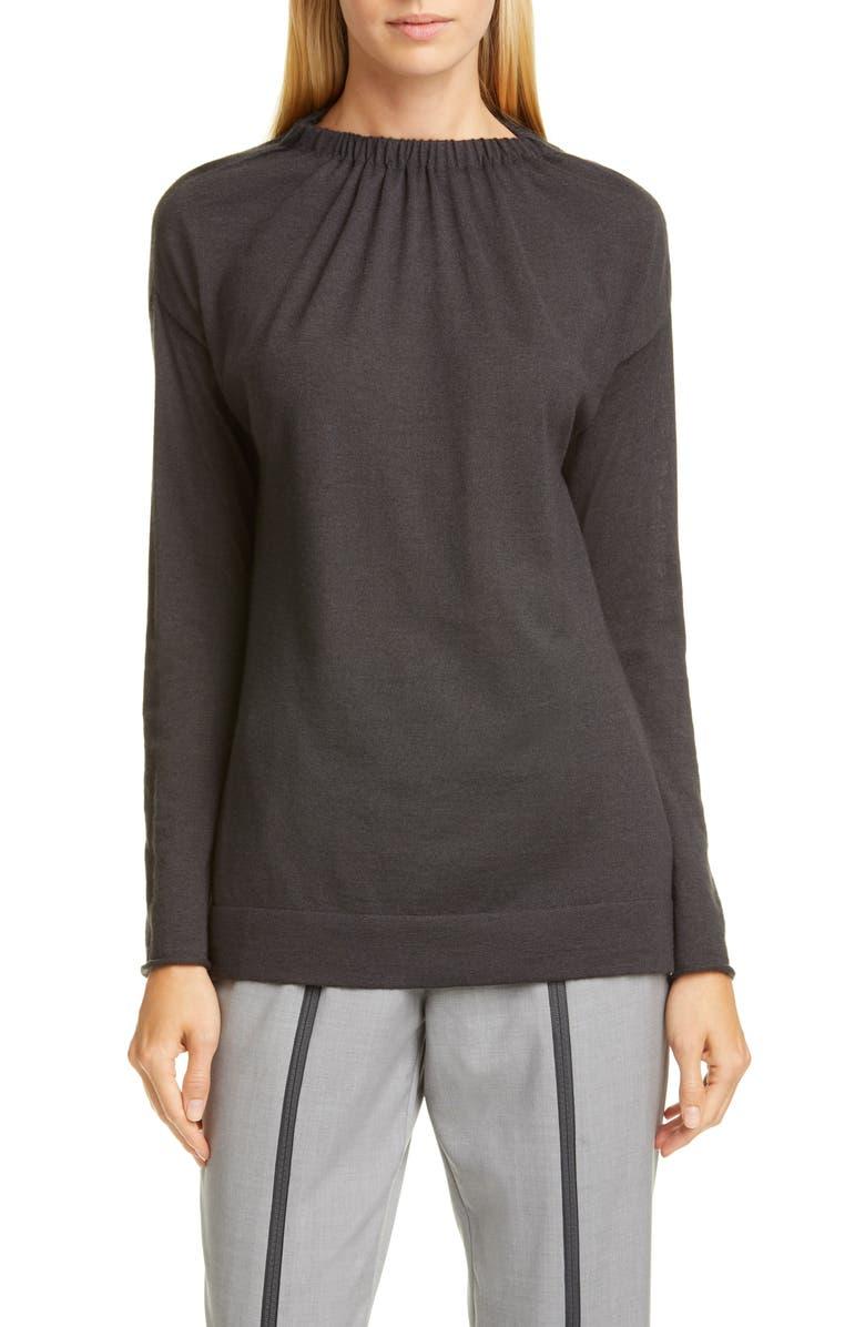 FABIANA FILIPPI Gathered Cashmere & Silk Sweater, Main, color, CHARCOAL
