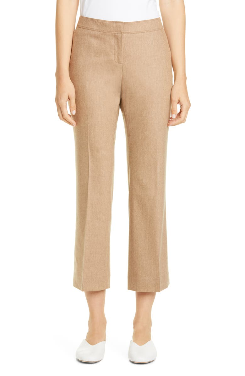 LAFAYETTE 148 NEW YORK Manhattan Stretch Wool & Cashmere Crop Flare Pants, Main, color, CAMELMELANGE