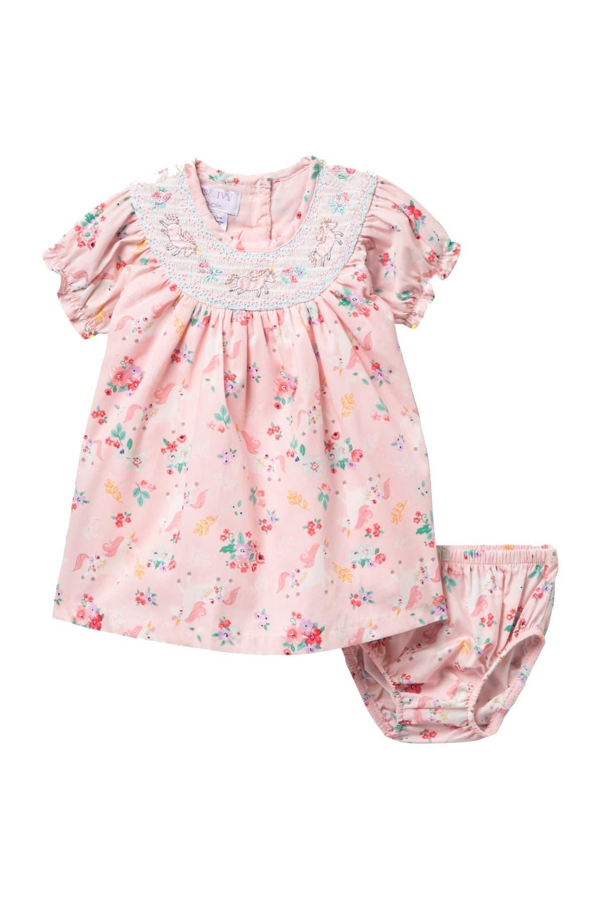 Image of Iris & Ivy Raglan Sleeve Unicorn Print Dress & Bloomers Set