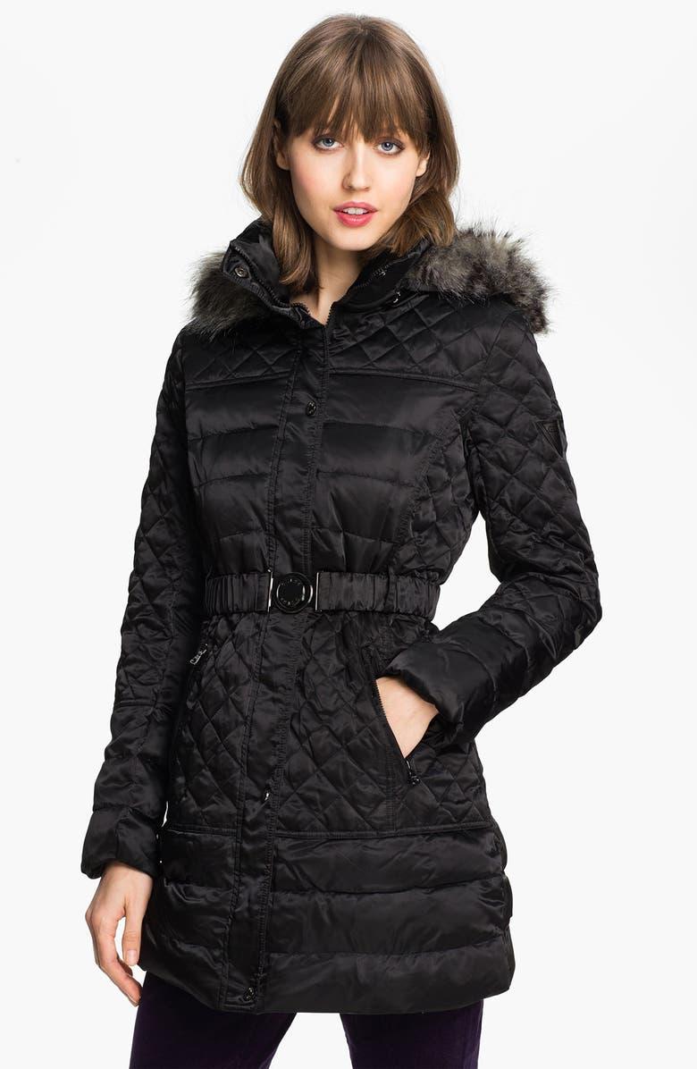 GUESS Faux Fur Trim Quilted Satin Jacket, Main, color, 001
