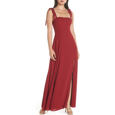 Fame And Partners Tie Shoulder Gown, Burgundy