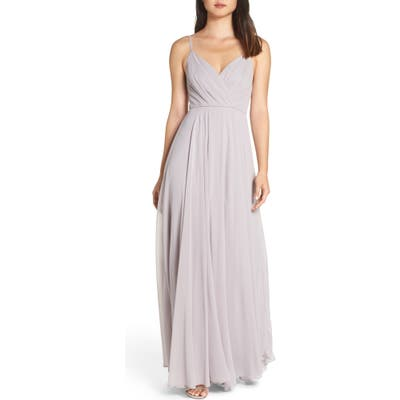 Lulus Surplice Chiffon Gown, Grey