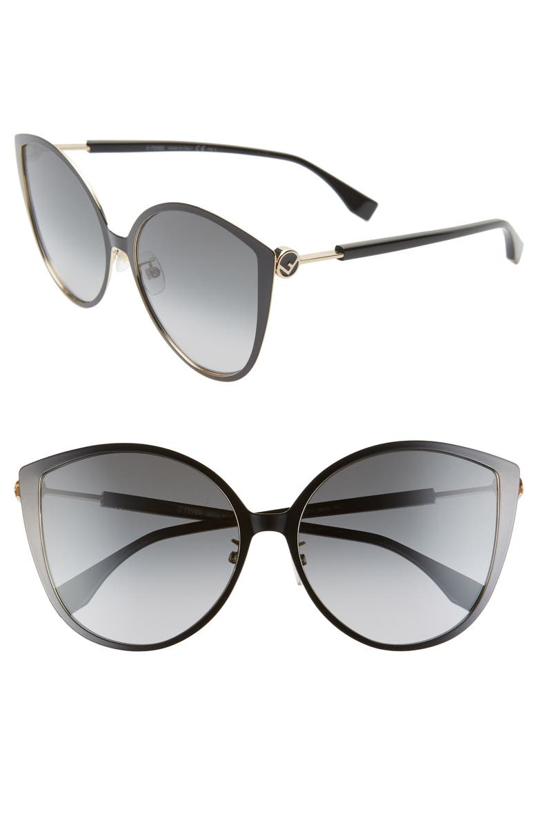 FENDI 60mm Special Fit Cat Eye Sunglasses, Main, color, 001