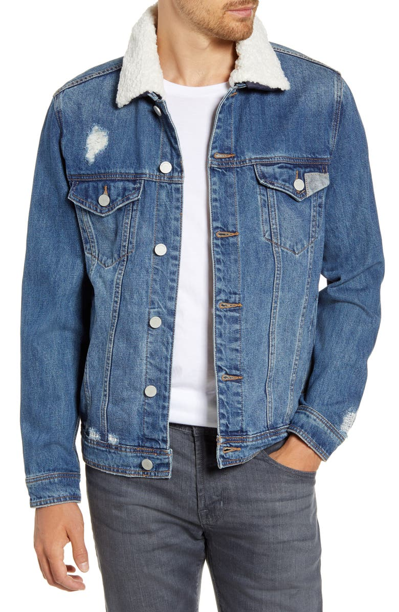 BLANKNYC Fleece Collar Denim Jacket, Main, color, HONEY DRIPPER
