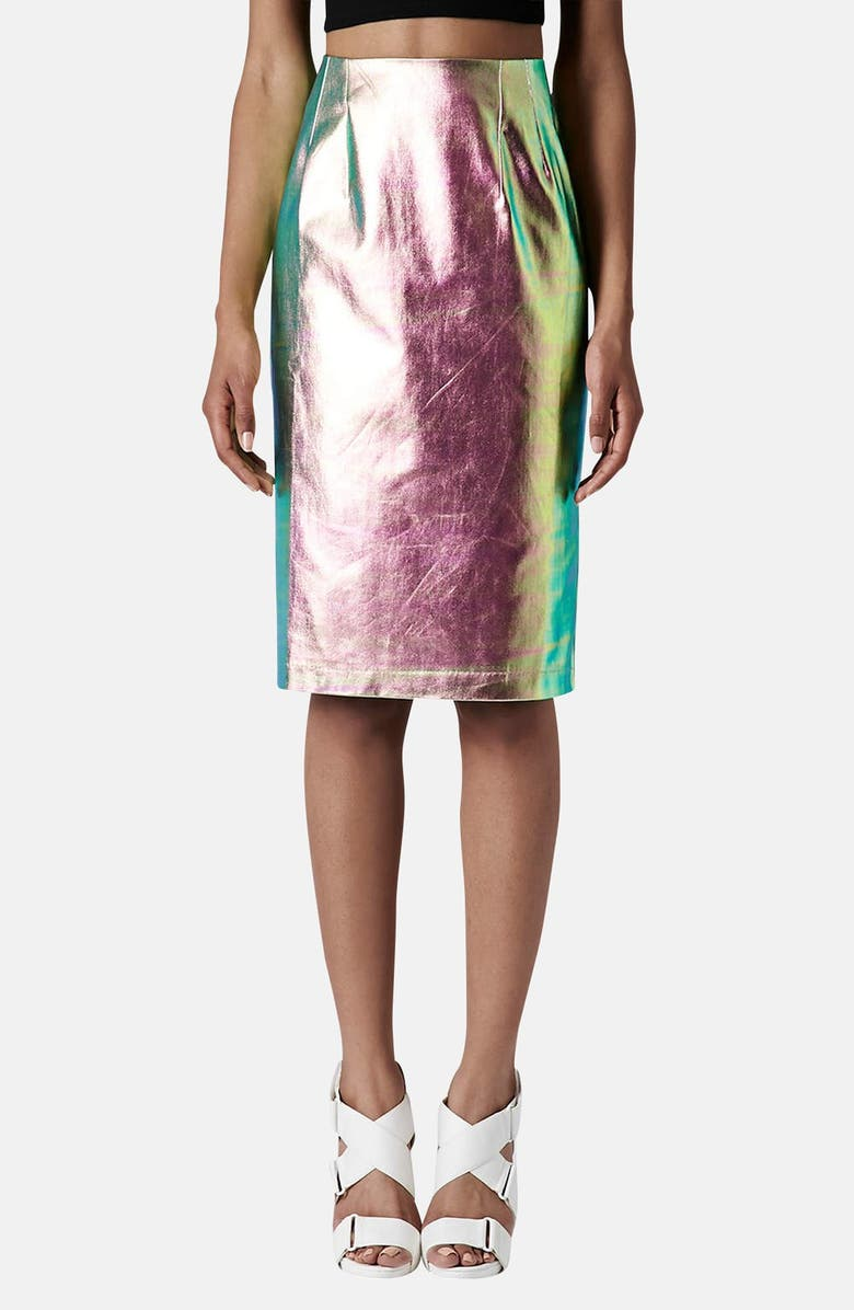 TOPSHOP Iridescent Mermaid Pencil Skirt, Main, color, GREEN MULTI