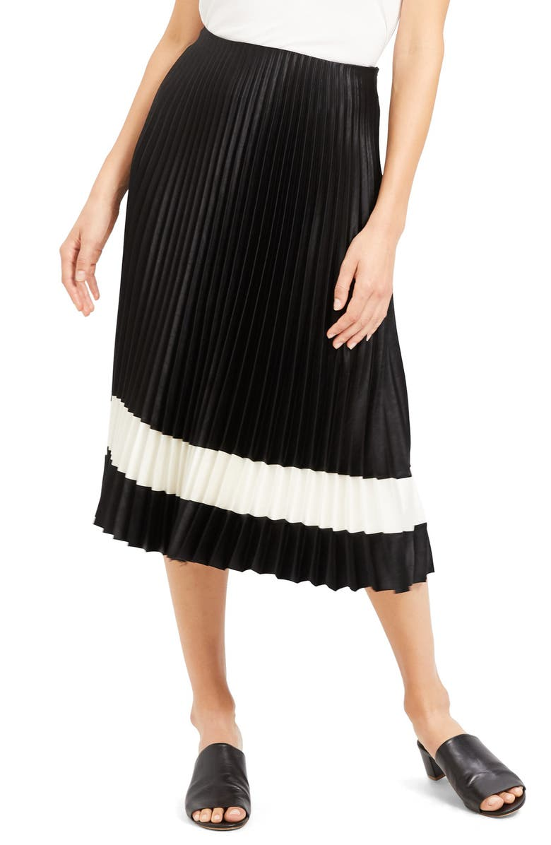THEORY Pleated Midi Skirt, Main, color, BLACK/ IVORY