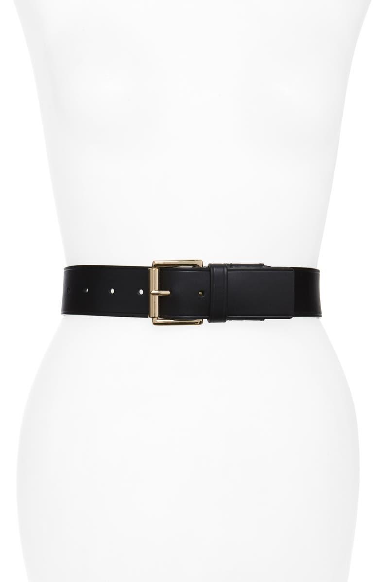MICHAEL KORS Burnished Leather Belt, Main, color, BLACK