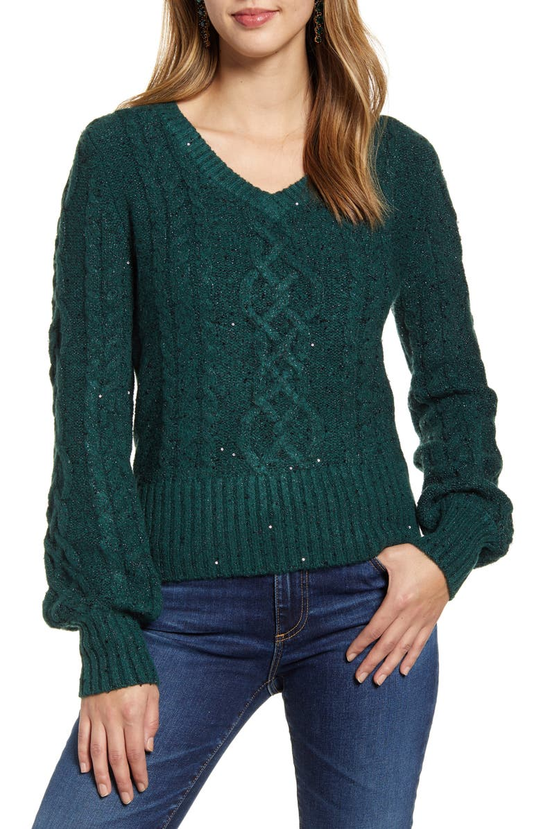 RACHEL PARCELL Sequin Cable Knit Puff Sleeve Sweater, Main, color, GREEN BOTANICAL
