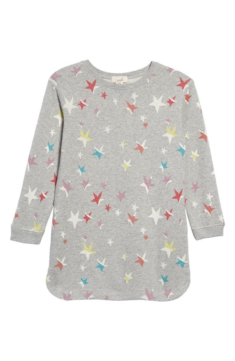 PEEK AREN'T YOU CURIOUS Lillian Star Sweatshirt Dress, Main, color, GREY HEATHER