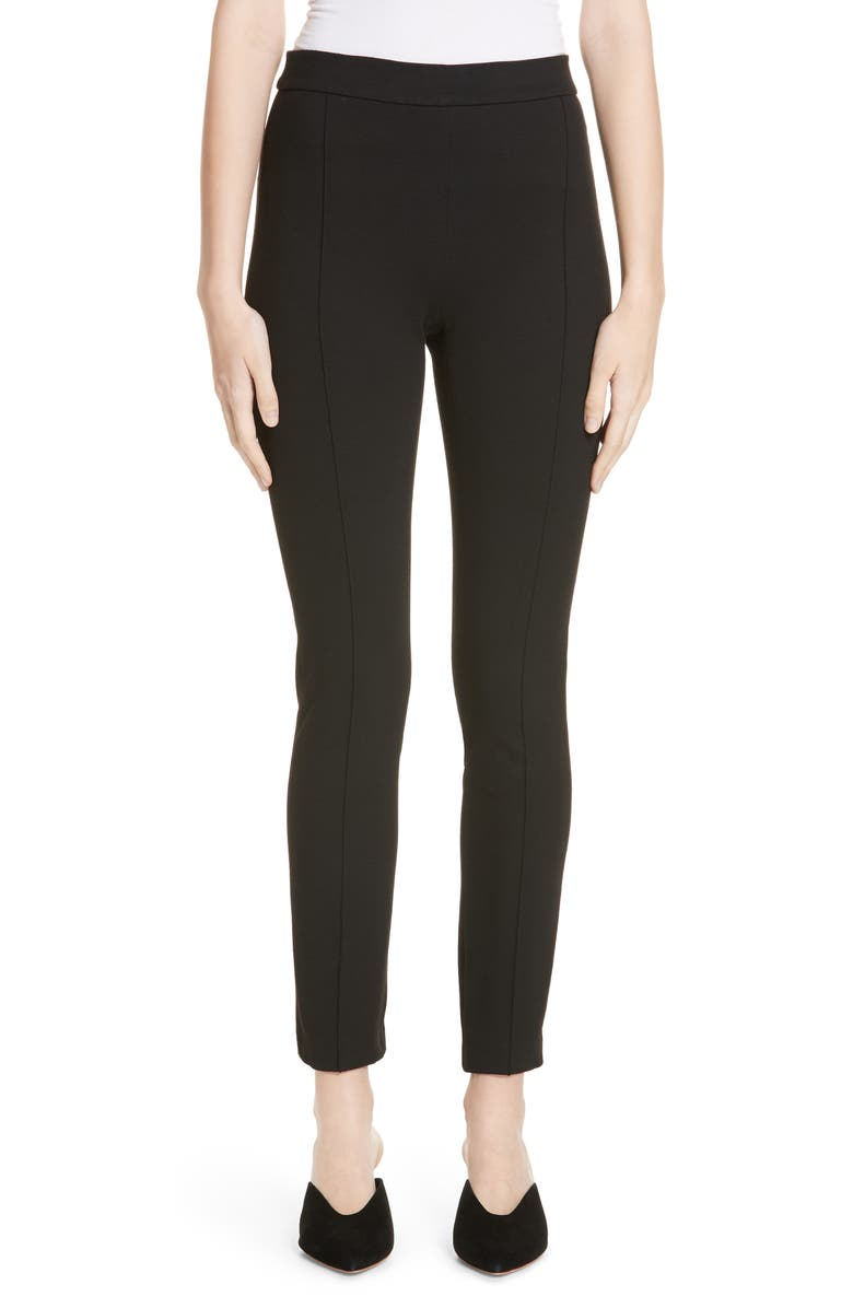 ROSETTA GETTY Pintucked Pull-On Skinny Jersey Pants, Main, color, BLACK