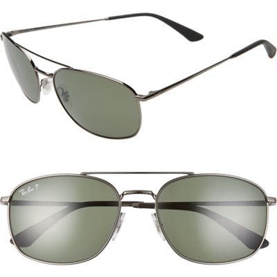 Ray-Ban 60Mm Polarized Aviator Sunglasses - Gunmetal/ Dark Green Polar