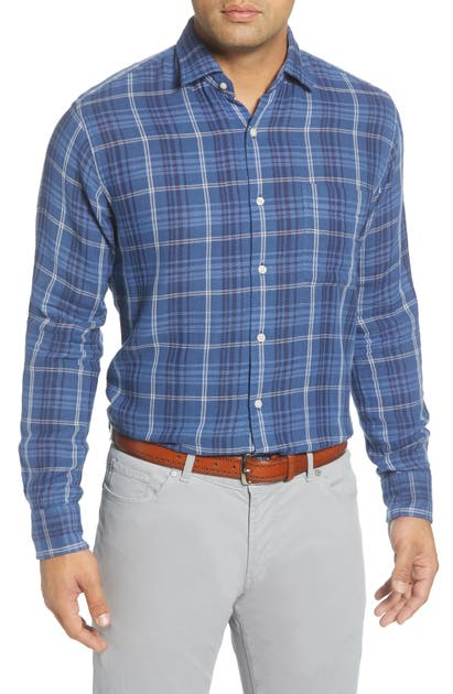 Peter Millar T-shirts BEACH PARK REGULAR FIT CHECK BUTTON-UP SHIRT