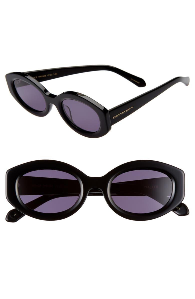 KAREN WALKER Bishop 49mm Cat Eye Sunglasses, Main, color, BLACK