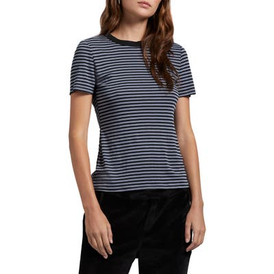 Michael Stars Stripe Crewneck Tee, Size One Size - Brown