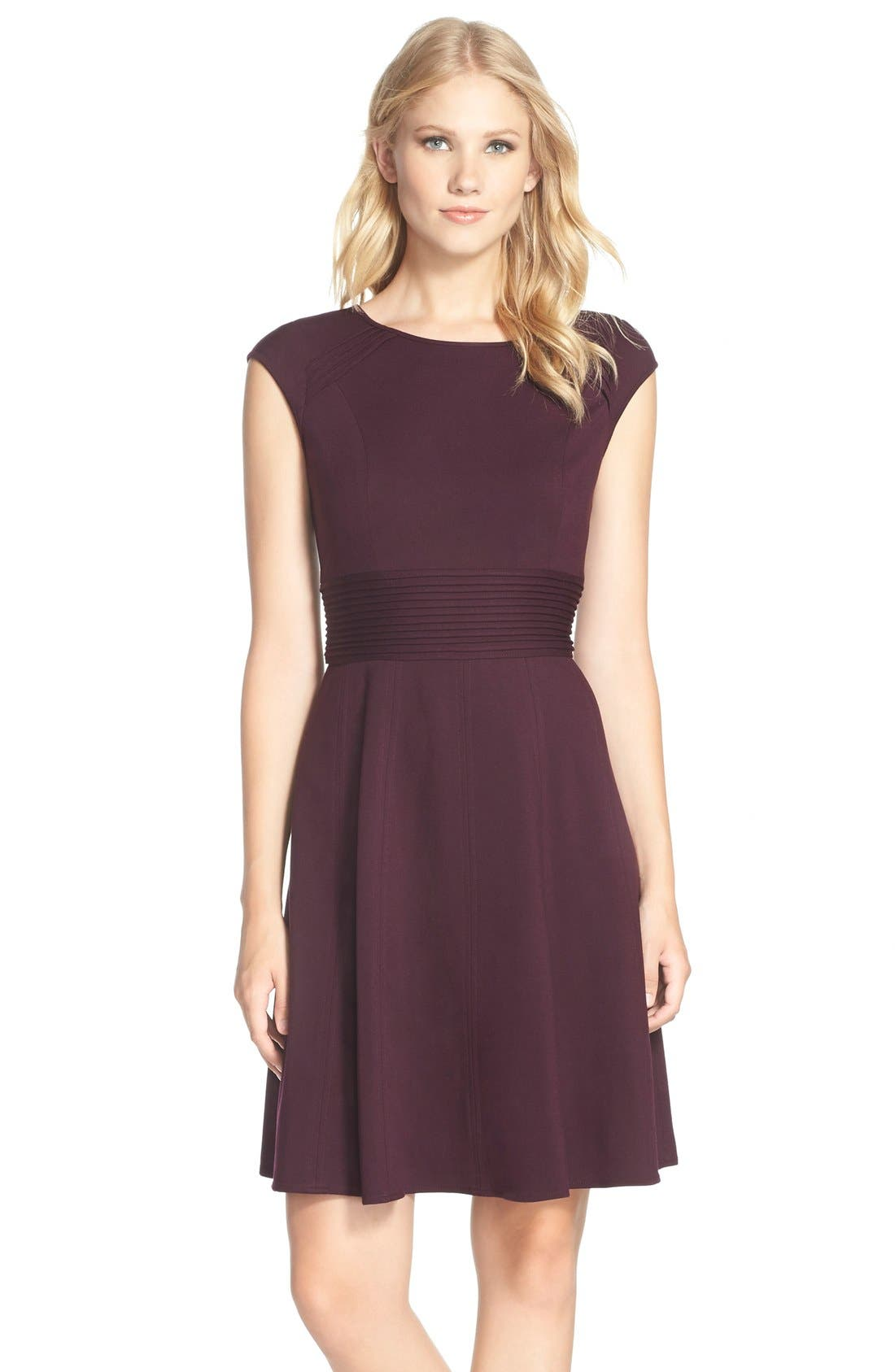 ,                             Pintucked Waist Seamed Ponte Knit Fit & Flare Dress,                             Main thumbnail 25, color,                             500