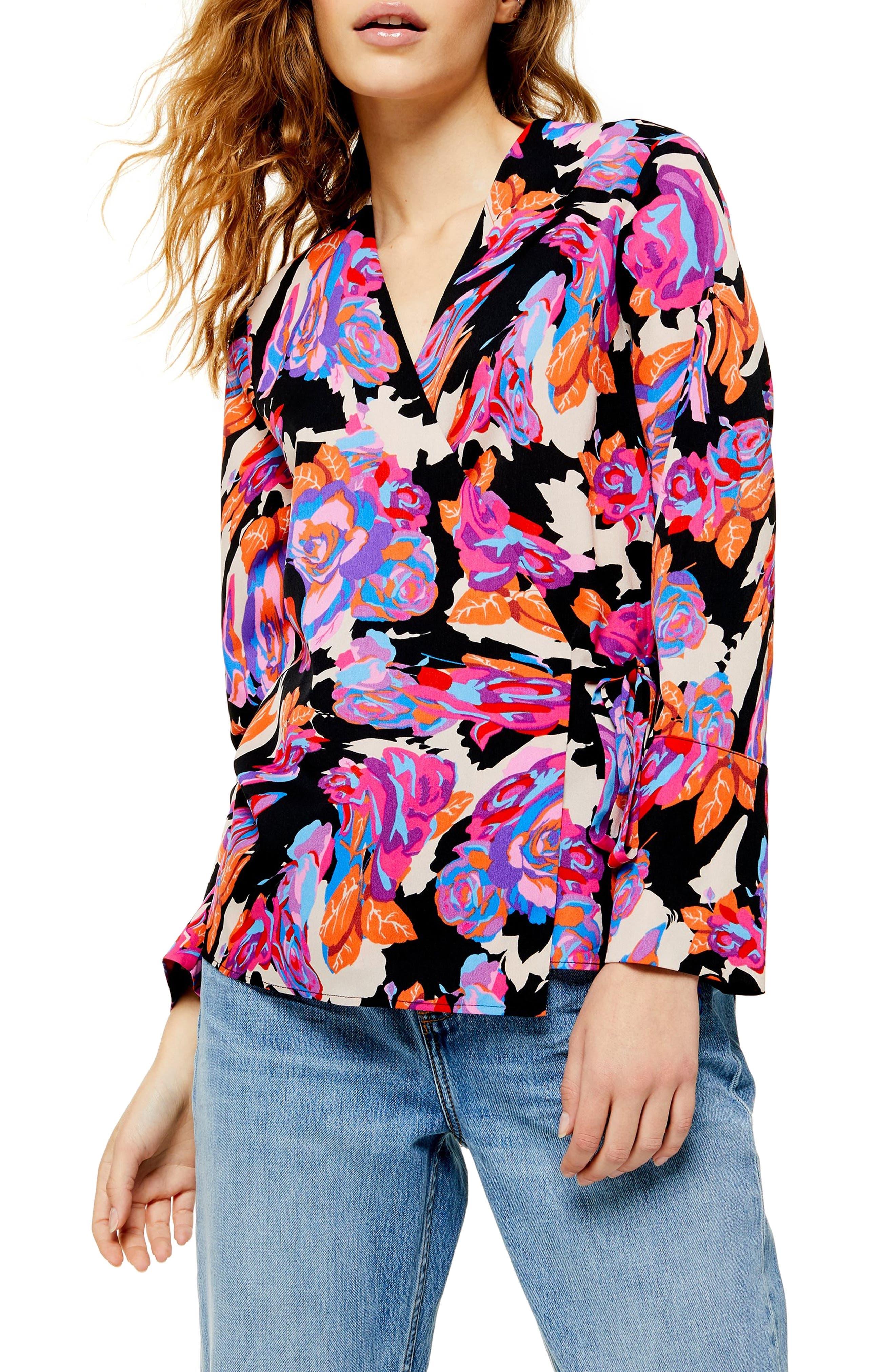 60s Shirts, T-shirt, Blouses | 70s Shirts, Tops, Vests Womens Topshop Floral Tie Wrap Blouse $60.00 AT vintagedancer.com