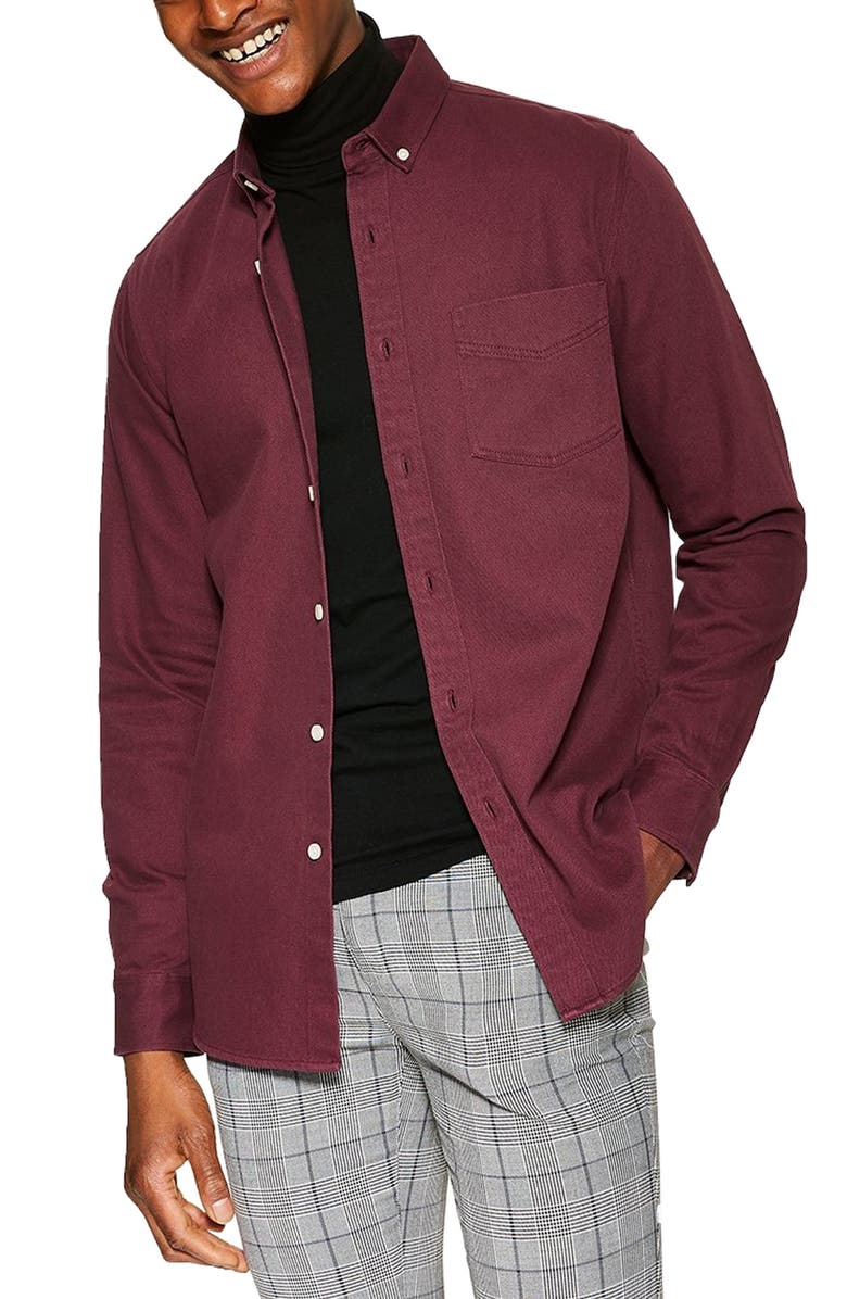 TOPMAN Twill Slim Fit Shirt, Main, color, BURGUNDY