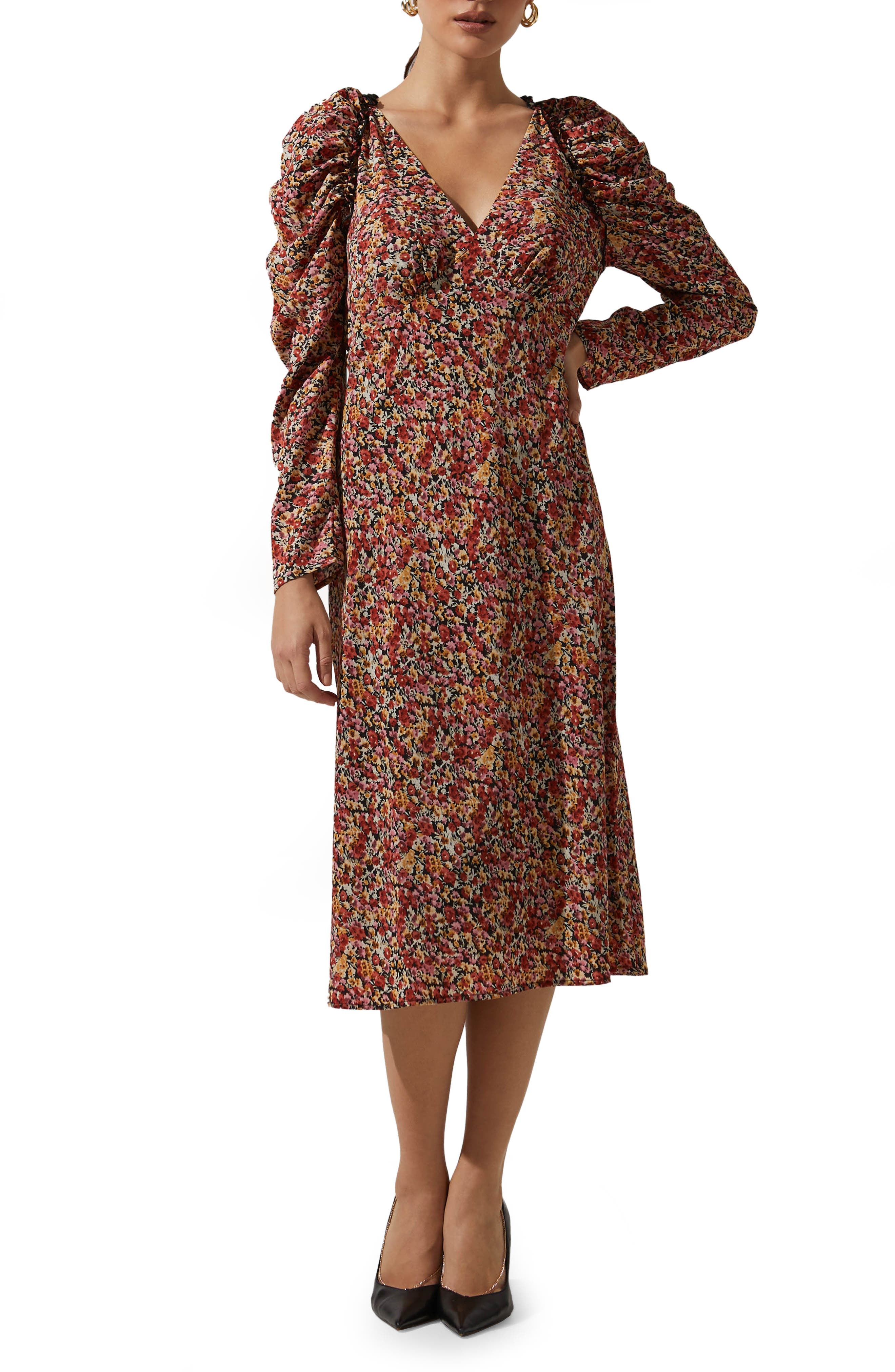 Floral Ruched Long Sleeve Midi Dress