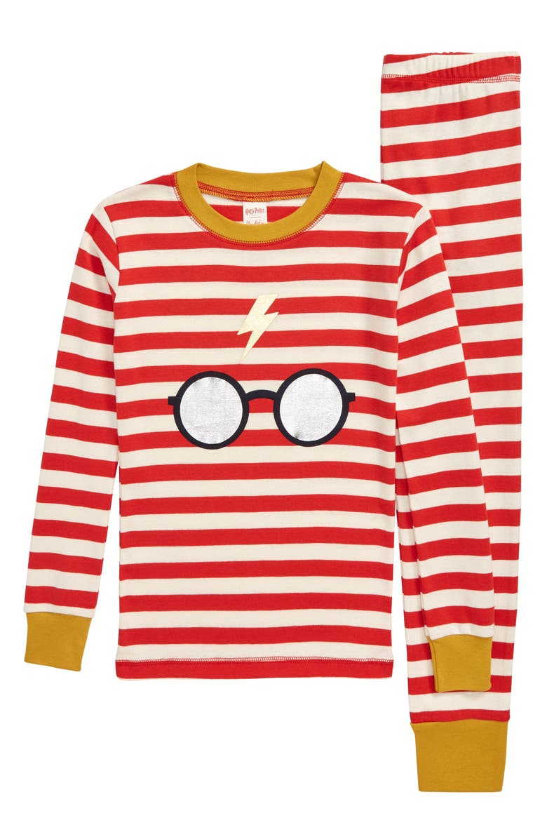 MINI BODEN Harry Potter Fitted Two-Piece Pajamas, Main, color, ROCAKABILLY RED/ IVORY