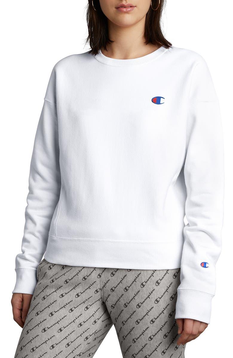 CHAMPION Reverse Weave Sweatshirt, Main, color, WHITE