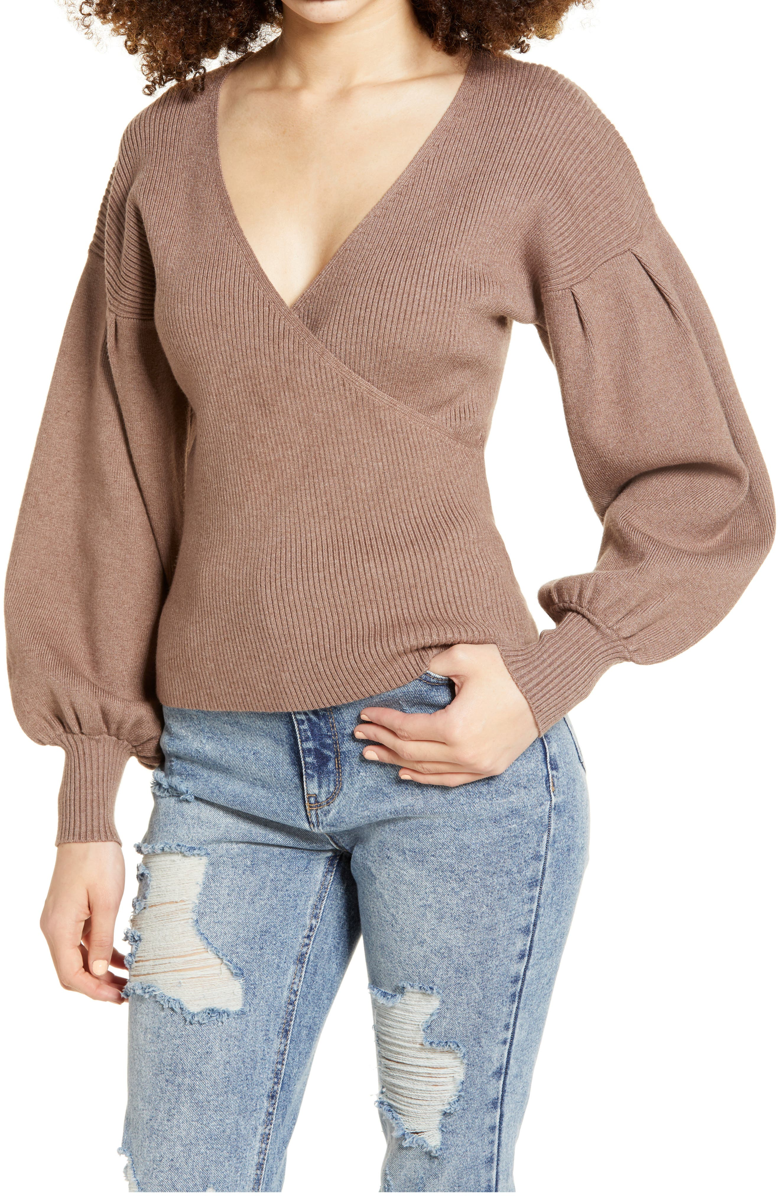 Voluminous bishop sleeves with a finer rib bring trend-savvy style to this drop-shoulder sweater with a surplice V-neck. Style Name: All In Favor Rib Bishop Sleeve Surplice Ribbed Sweater. Style Number: 6049854. Available in stores.