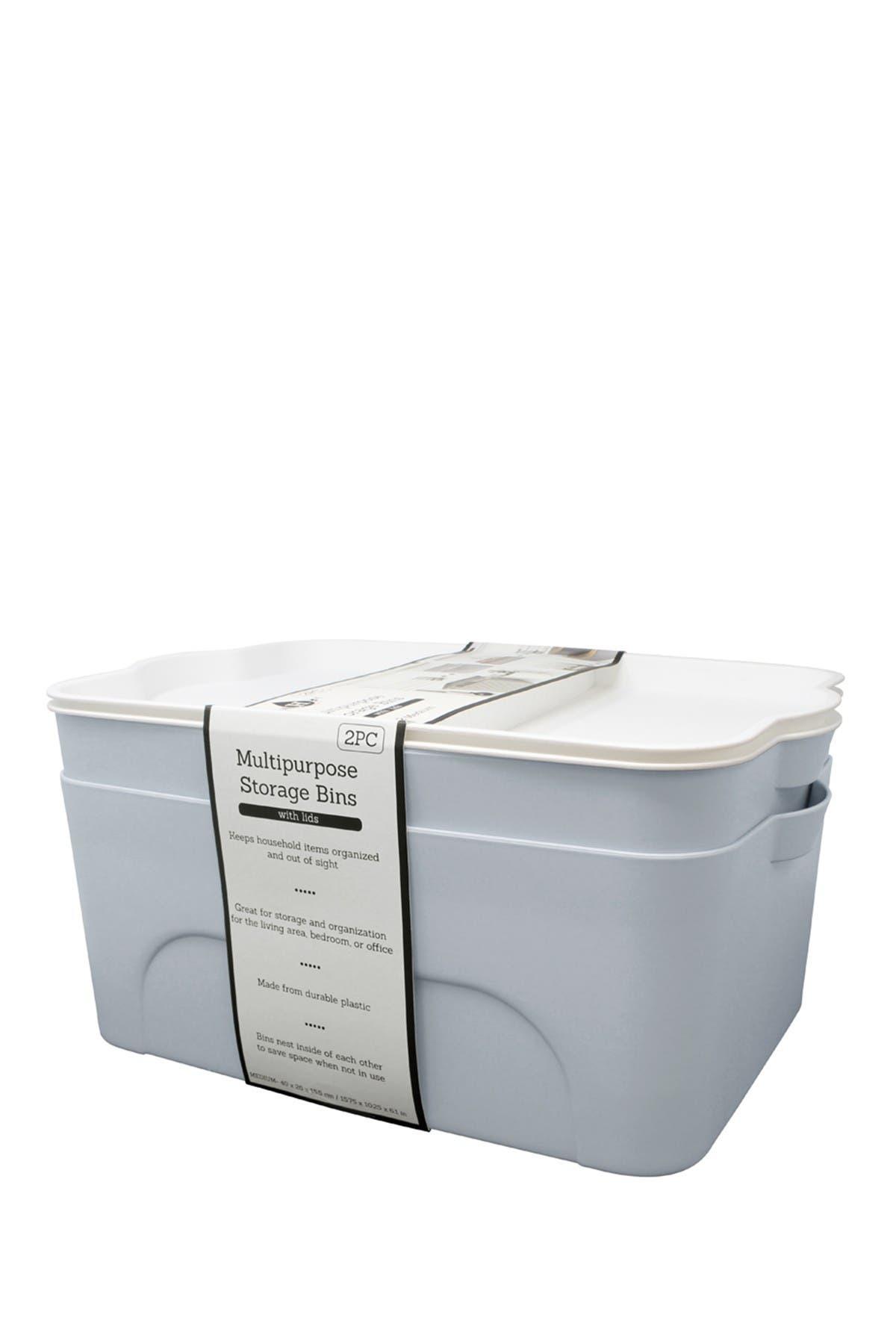 Image of Gourmet Home Heritage Dusty Blue Medium Multipurpose Storage Bins - Set of 2