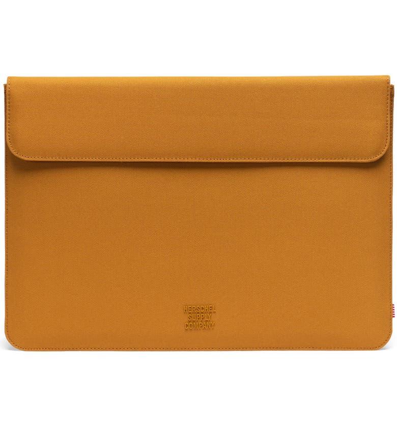 HERSCHEL SUPPLY CO. Spokane 15-Inch MacBook Pro Canvas Sleeve, Main, color, BUCKTHORN BROWN