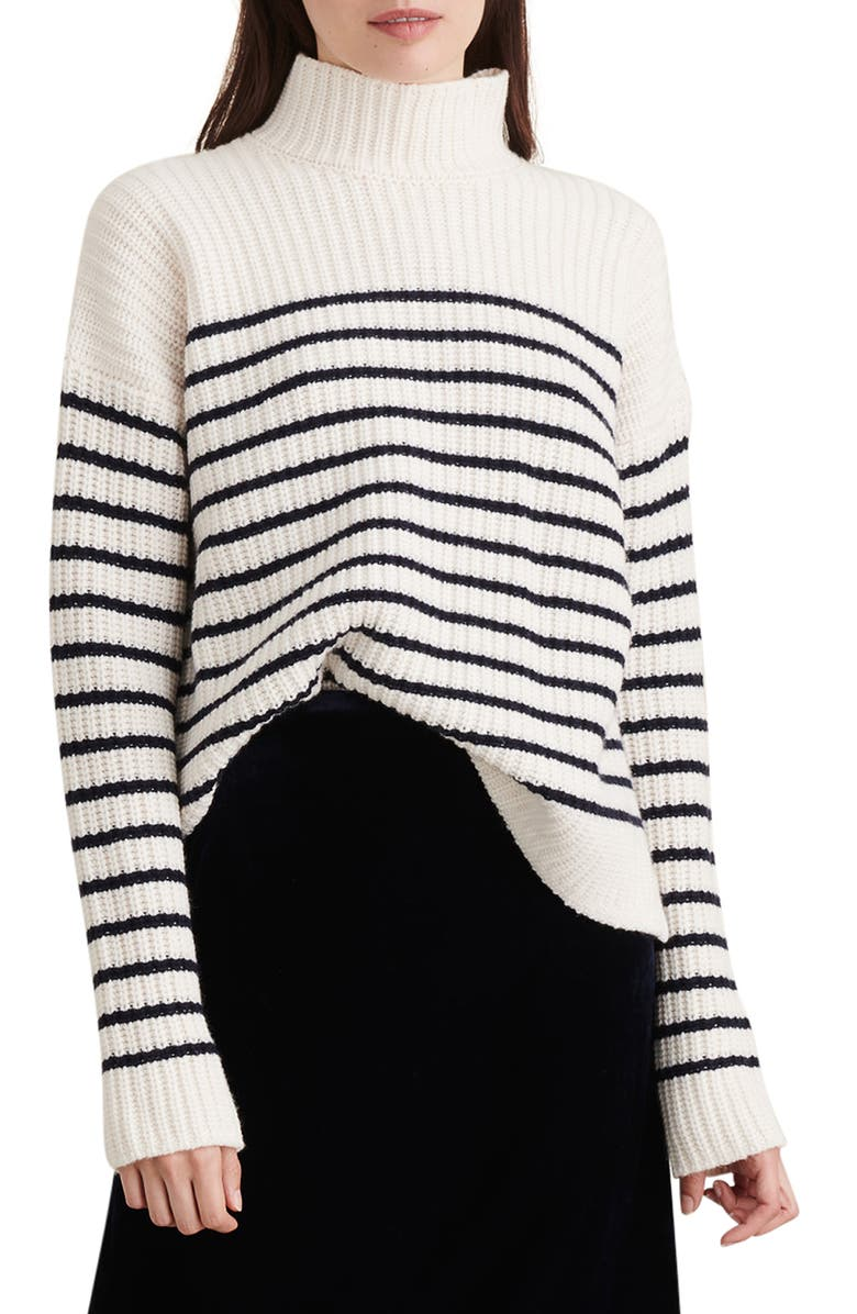 ALEX MILL Seattle Stripe Mock Neck Merino Wool & Cashmere Sweater, Main, color, IVORY/ NAVY