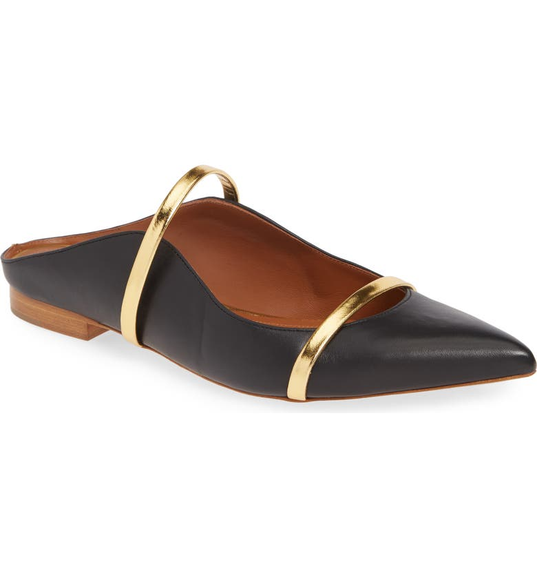 MALONE SOULIERS Maureen Pointy Toe Flat, Main, color, BLACK/ GOLD