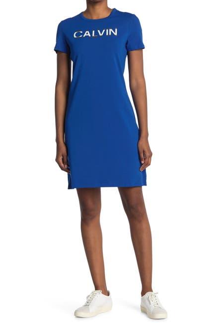 Image of Calvin Klein Logo T-Shirt Dress