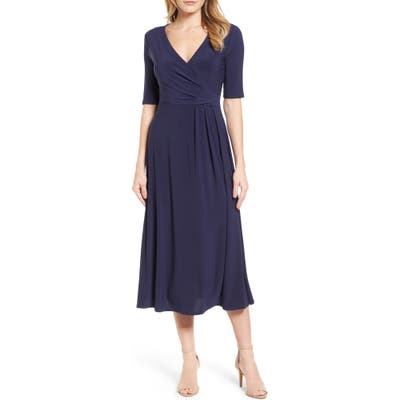 Chaus Laura Faux Wrap Midi Dress, Blue