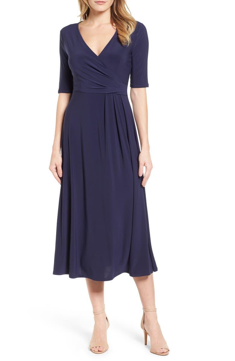 CHAUS Laura Faux Wrap Midi Dress, Main, color, 529-EVENING NAVY