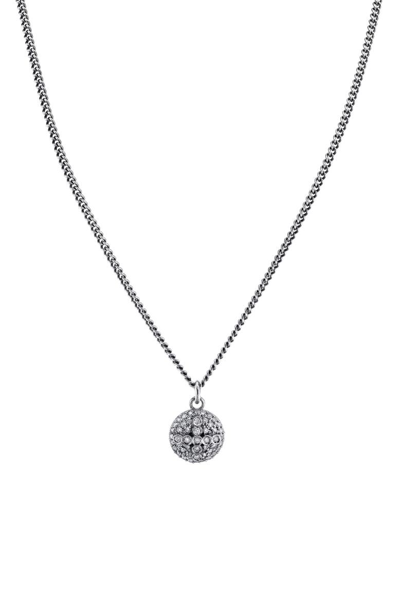 SHERYL LOWE Pavé Dome Cross Pendant Necklace, Main, color, STERLING SILVER