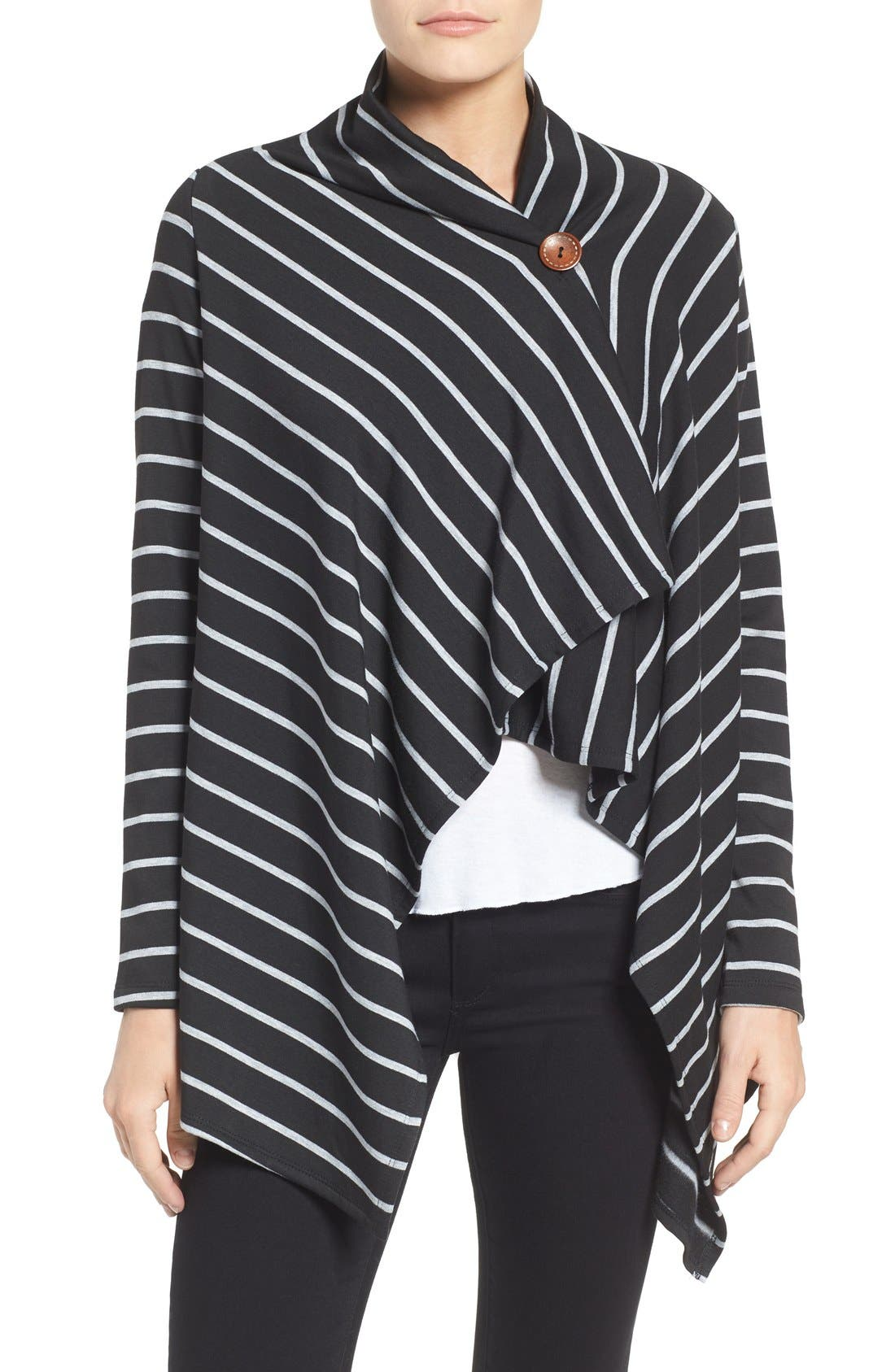 ,                             One-Button Fleece Wrap Cardigan,                             Alternate thumbnail 46, color,                             013