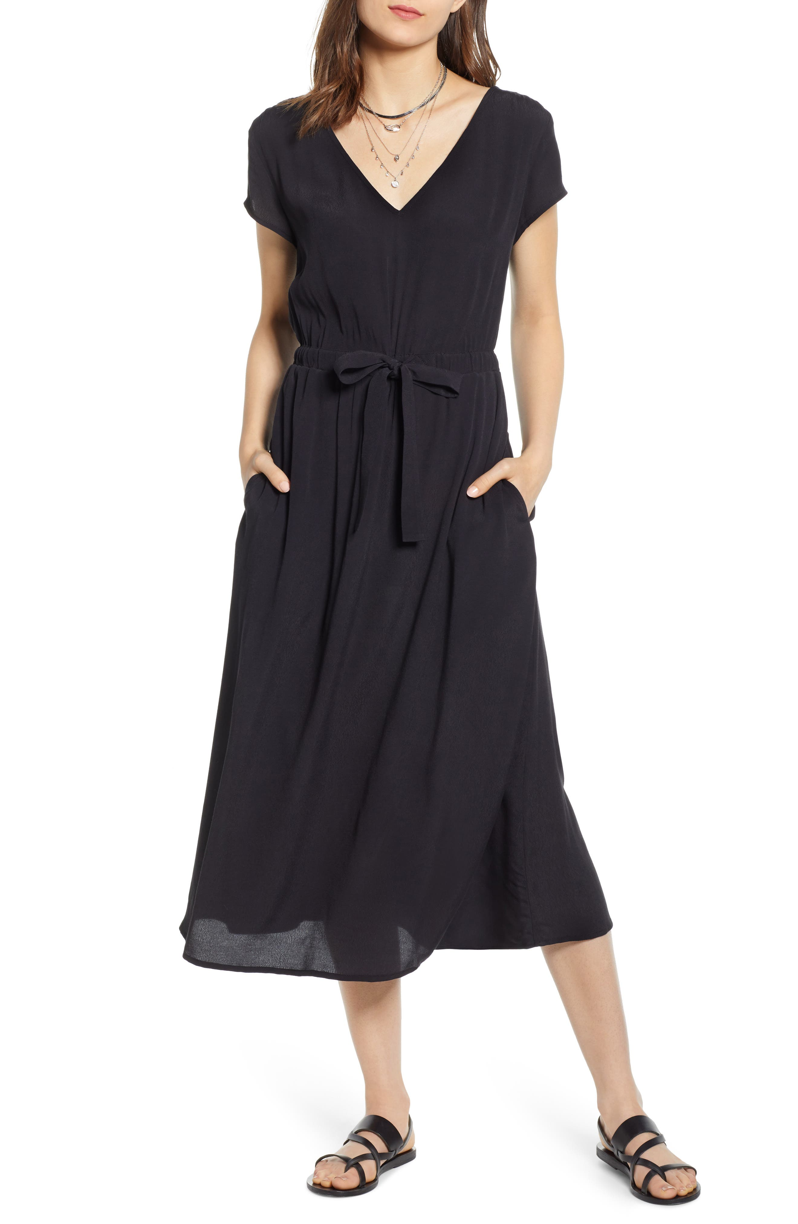 ,                             Cap Sleeve Midi Dress,                             Main thumbnail 1, color,                             BLACK