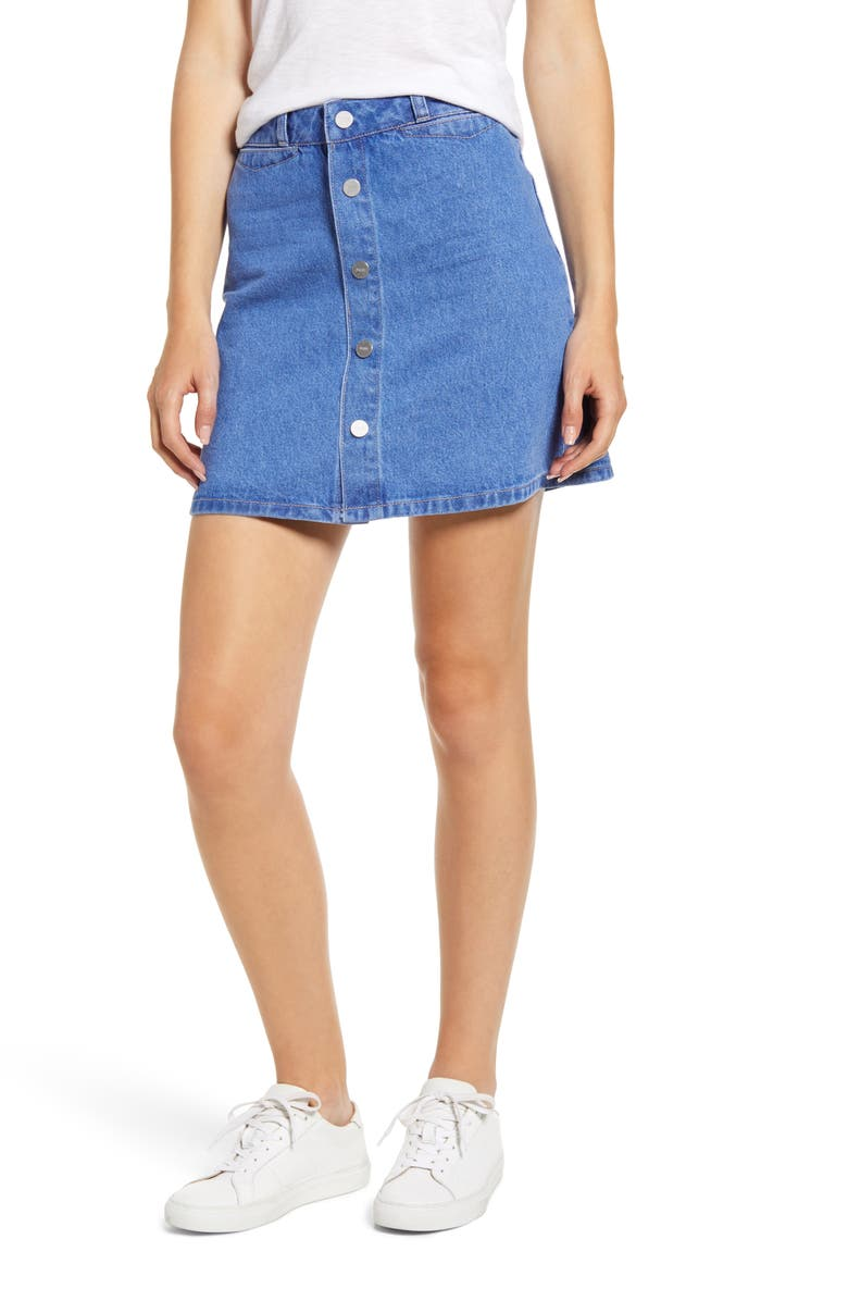PAIGE Esma High Waist Denim Miniskirt, Main, color, AVIANA
