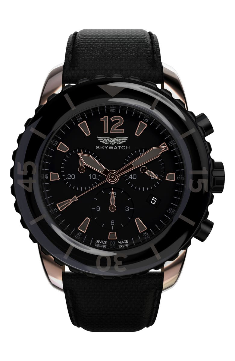 SKYWATCH Classic Chronograph Woven Strap Watch, 44mm, Main, color, 001
