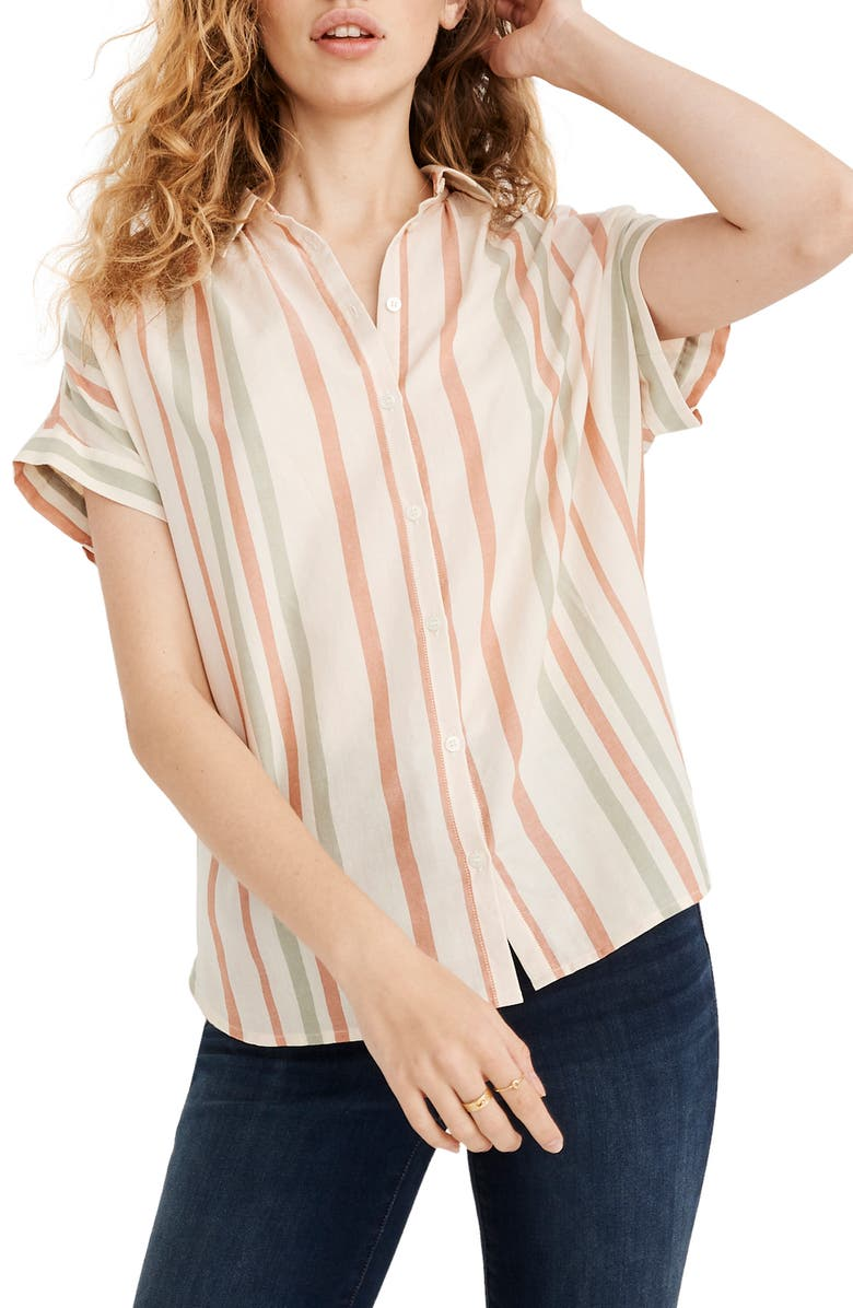 MADEWELL Central Multistripe Shirt, Main, color, LUCID PINK