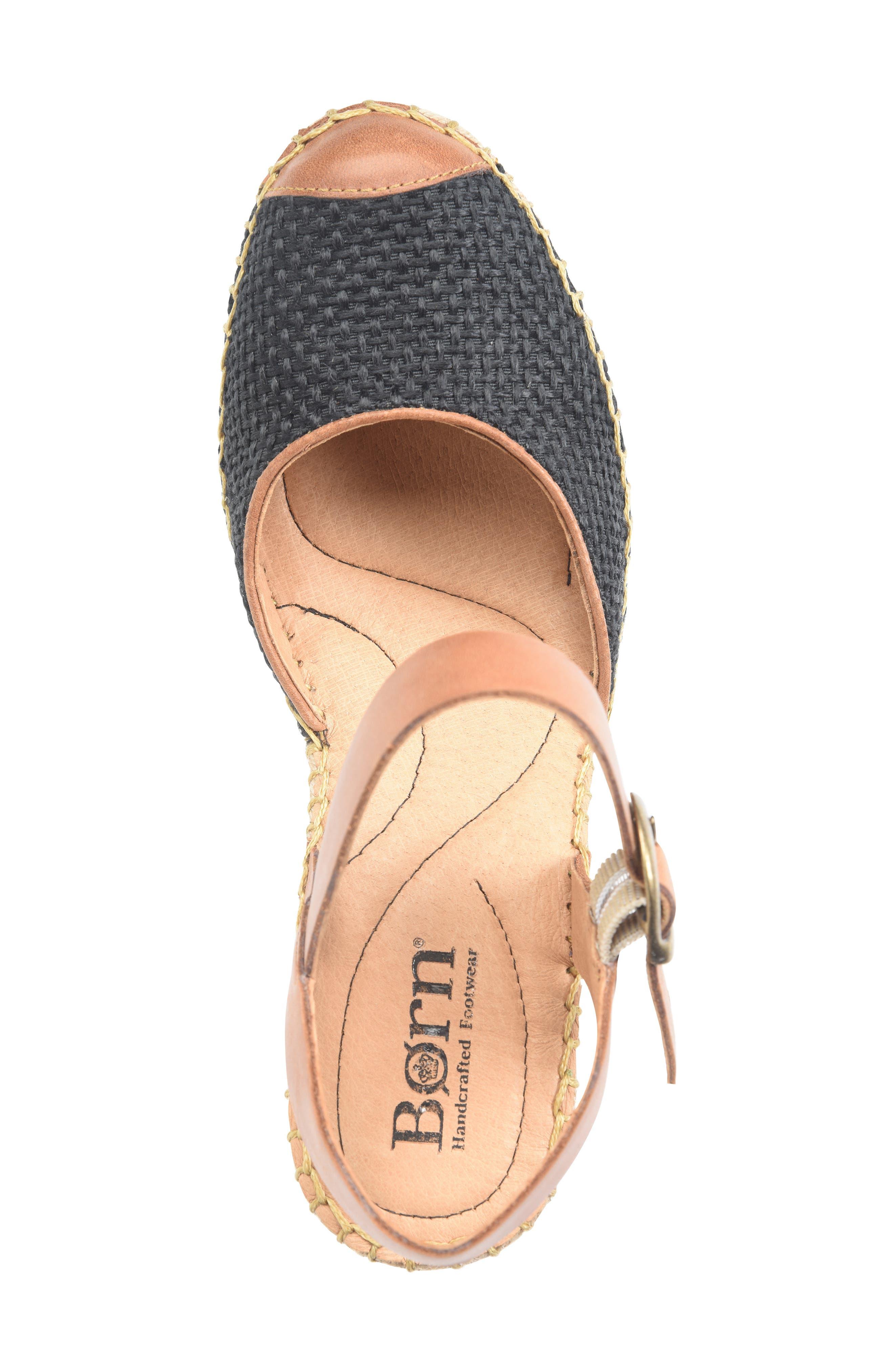 ,                             Guadalupe Wedge Sandal,                             Alternate thumbnail 5, color,                             BLACK/ RUST FABRIC