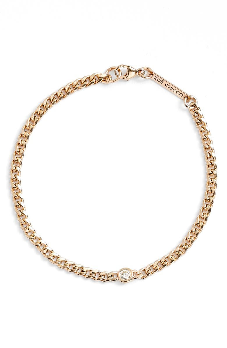 ZOË CHICCO Diamond Station Small Curb Chain Bracelet, Main, color, 710